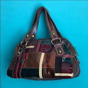 Vintage Fossil 1954 multi color patchwork bag
